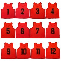 Oso Athletics 12セットプレミアムポリエステルメッシュNumbered Scrimmage Vests Pinnies PracticeジャージW / Carrying Bag for...