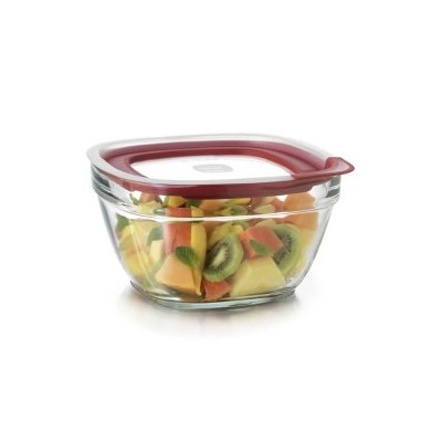 Rubbermaid Easy Find蓋ガラス食品ストレージコンテナ 11.5 Cup レッド 2856007