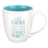 "Blue Blessings to the Teacher ""Touches a Heart"" Mug - 1 Corinthians 16:14 by Christian Art Gifts ..."
