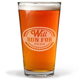 Will Run For Beer Engraved Beer Pint Glass by Gone For A Run | 20オンス