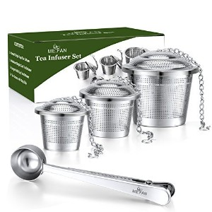 Me。ファンティーインフューザーセット – プレミアムステンレススチールTea Strainers – Included Loose Leaf Tea Filters ( Set of 3 ) &ティースクープとバッグクリップ – Best Gift For Tea Lover