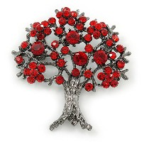 Siam Red Crystal ' Tree of Life 'ブローチin Gunメタル仕上げ – 52 mm長