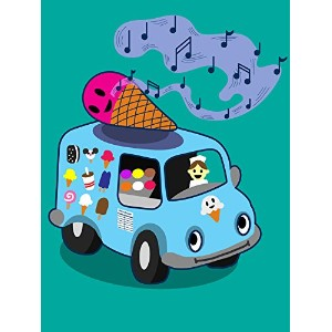 """ Ice Cream Truck "" Funny Ice Cream Cone Singing 18 x 24 – ビニール印刷ポスター"