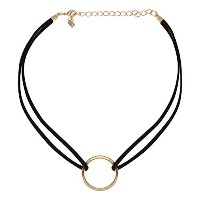 accessorisinggブラックSwade二重線Choker withゴールド円Centre [ pd161 ]
