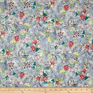 Serene Spring May FlowersフォグFabric by the yard