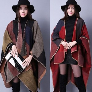 Winter Women Over Wear Coat Oversized Knitted Cashmere Poncho Capes Duplex Shawl Cardigans Sweater