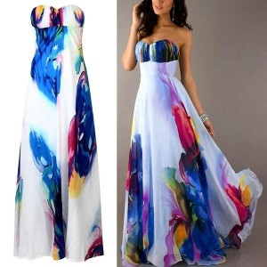 Vintage Sleeveless Floral Women Long Maxi Dresses Party Cocktail Evening Dress GIN