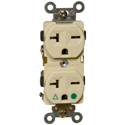 Morris 82235 Isolated Ground Duplex Receptacle, 20 Amp Current, 250V, Ivory by Morris
