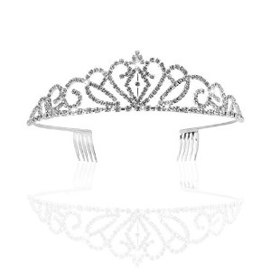 Pixnor Gorgeous Pretty Rhinestone Tiara Crown Exquisite Headband Comb Pin Wedding Bridal Birthday...