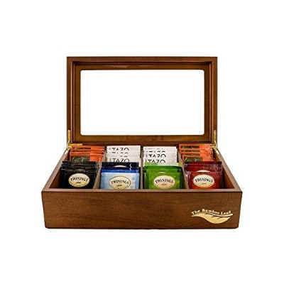 (Walnut) - The Bamboo Leaf Wooden Tea Storage Chest Box with 8 Compartments and Glass Window ...