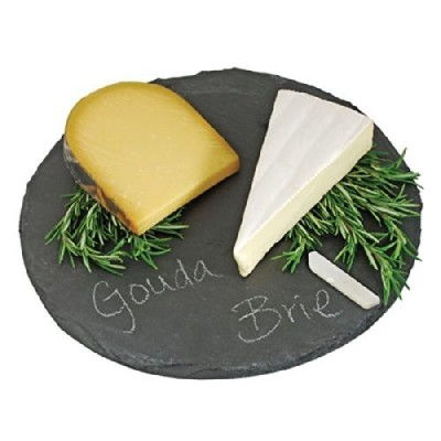 (30cm x 30cm, Slate Plate) - Round Slate Cheese Board By EMEMO - 30cm Cheese Tray & Serving Plate...