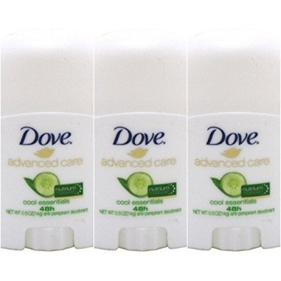 Dove Advanced Care 48hr Moisture Deodorant Travel Size 0.5 Ounce 3Pk W/Zippered Bag by KT Travel