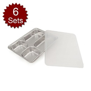 Aspire ステンレス 仕切り 分割 トレー プレート 弁当 6セット- 4 Sections - 4 Sections - One size
