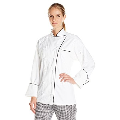 Uncommon Threads 0453EC-2503 Versailles Chef Coat in White with Black Piping - Medium