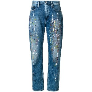 Calvin Klein Jeans paint splattered mom jeans - ブルー