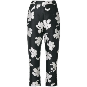 Isa Arfen floral cropped trousers - ブラック