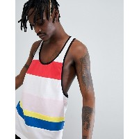 エイソス メンズ タンクトップ アンダーウェア ASOS DESIGN extreme racer back vest with bright colour block in white Multi