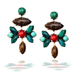 Amaro Earring with Pietersite、African Turquoise and Red Jade–epc18sois