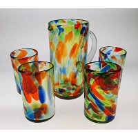 Mexican Glasses 16 oz &ピッチャー、液体紙吹雪Swirl ( Set of 4 )