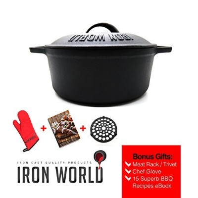 "Cast Iron Dutch Oven 10 "" 3.5qt by Iron World 
