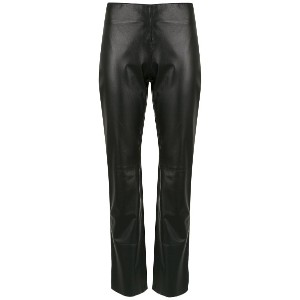 Egrey leather straight-fit trousers - ブラック