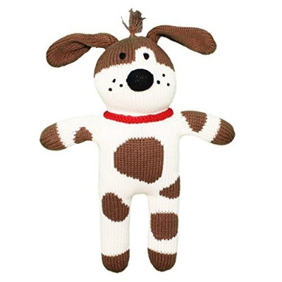 Zubels 100% hand-knit Mr。ウーハーThe Spotted Dog Plush人形Toyすべて天然繊維
