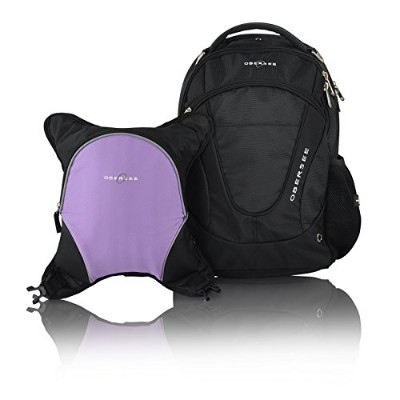 Obersee Oslo Diaper Bag Backpack with Detachable Cooler, Black/Purple by Obersee