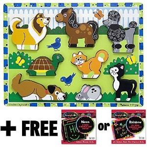 Pets Themed Chunky Puzzle + FREE Melissa & Doug Scratch Art Mini-Pad Bundle [37242] by Melissa &...
