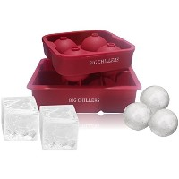 Combo Large Square & Round Ice Cube Mold Silicone Tray Jumbo Giant Square and Sphere for Ice Ball...