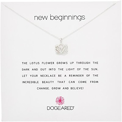 "[ドギャード]Dogeared Reminder ""New Beginnings"" Sterling Silver Rising Lotus Pendant Necklace, 18.4""..."