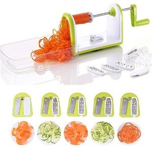 cool-shop 5-blade Spiralizer Vegetable Slicer、頑丈スパイラルwithコンテナと強力吸引、サラダ台所用具、野菜カッターand Shredder for...