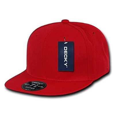 Decky RP1-PL-RED-29 Retro Fitted Cap, Red, Size 7.75