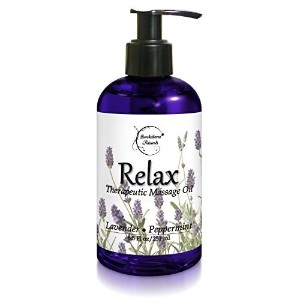 Relax Therapeutic Body Massage Oil - Contains Best Essential Oils for Sore Muscles & Stiffness - Lavender, Peppermint & Marjoram - All Natural - With Sweet Almond, Grapeseed & Jojoba Oil 8.5oz by Brookethorne Naturals