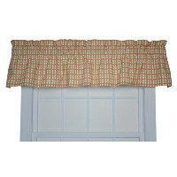 Charlestown Check Tailored Tierカーテン Tailored Valance レッド 730462588593