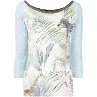 Marc Cain jungle print sweater - ホワイト