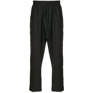 Juun.J cropped high-waisted trousers - ブラック