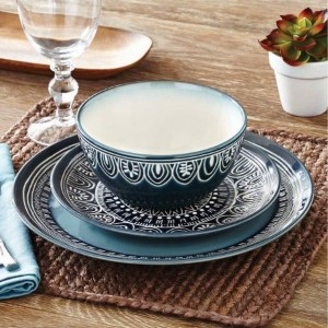 Better Homes and Gardens Teal Medallion 12-piece食器セット、ティール BH16-036-099-01
