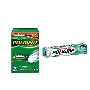 Polident 3 Minute Denture Cleaner Tablets 120 Count and Super Poligrip Denture Adhesive Cream Zinc...