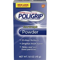 PoliGrip Super Denture Adhesive Powder, Extra Strength 1.6 oz Container (Pack of 6) by Super Poli...