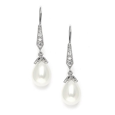 Mariell CZ Vintage French Wire Light Ivory Pearl Teardrop Dangle Bridal Earrings Plated in Platinum