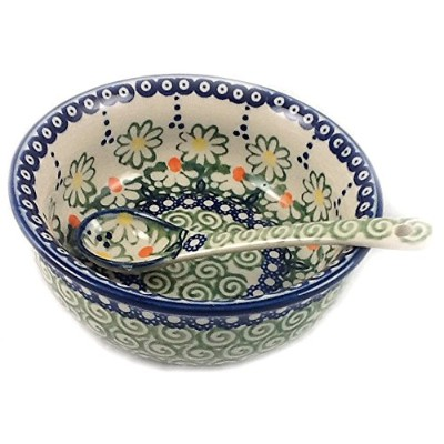 Polish Pottery Baby Cereal Bowl & Matching Spoon - Unikat REOS Maizie