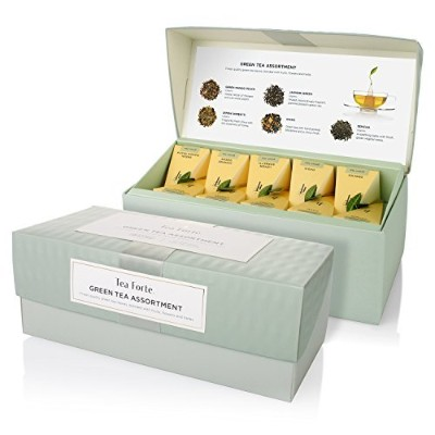 Tea Forte Presentation Box Sampler with 20 Handcrafted Pyramid Tea Infusers - Green Tea Assortment by Tea Forte