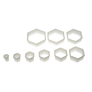 Silikomart Wonder Cakes Collection Hexagon Nesting Smooth Nylon Dough Cutters, Set of 9 by...