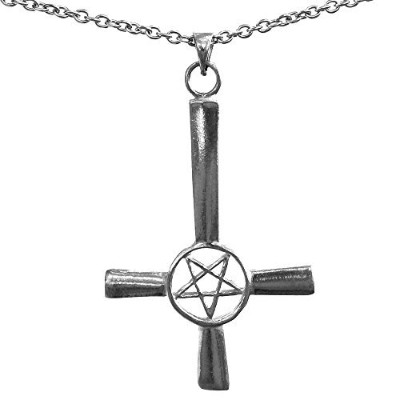 Big Inverted Cross Pentacle Pentagram Star Pewter Pendant wネックレス