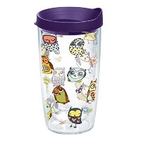 Tervis 1216912 Doodle Owls Tumbler with Wrap and Royalパープル蓋16オンス、クリア