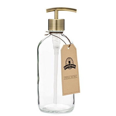 Clear Glass Jar Soap and Lotion Dispenser with Modern Brass Pump - 470ml - by Jarmazing Products