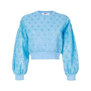 MSGM broderie anglaise detail sweatshirt - ブルー