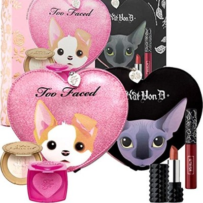 Too Faced 限定版, 5/Set, Too Faced x Kat Von D - Better Together Cheek & Lip Makeup Bag [海外直送品] [並行輸入品]