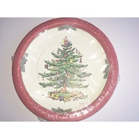 SpodeクリスマスツリーレッドBorder Paper Dinner Plates 16カウント