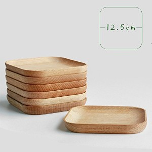 XDOBO Natural Beech Wood Serving Dishes – ハンドメイドMini Dessert Plates – 安全と環境に優しい – パックof S DPL-6